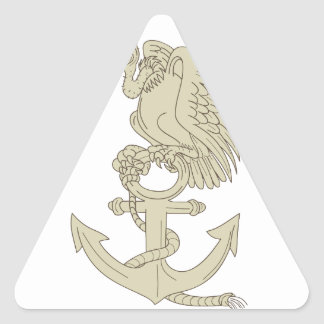 Buzzard Perching Navy Anchor Cartoon Triangle Sticker