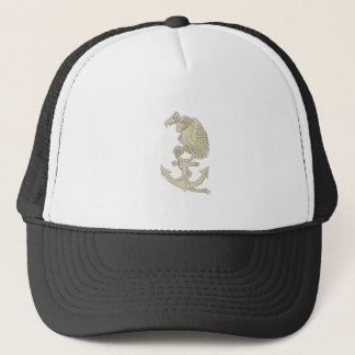 Buzzard Perching Navy Anchor Cartoon Trucker Hat