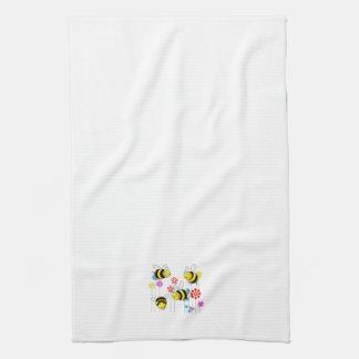 Buzzed Bees in Garden Flowers Kitchen Towel