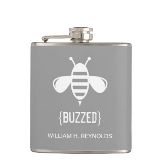 {BUZZED} Bridal Party Buzzed Bee Gift (platinum) Hip Flask