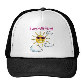 buzzer time comic sun sunshine sunglasses trucker hat