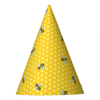 Buzzing Bumble Bees and Golden Honeycomb Pattern Party Hat