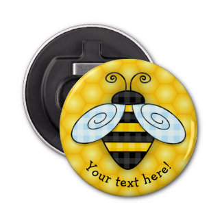 Buzzing Bumblebee and Honeycomb Icon Button Bottle Opener