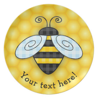 Buzzing Bumblebee and Honeycomb Icon Dinner Plates