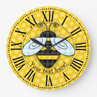 Buzzing Bumblebee and Honeycomb Icon Large Clock