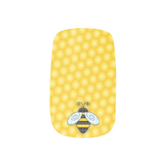 Buzzing Bumblebee and Honeycomb Icon Minx Nail Art