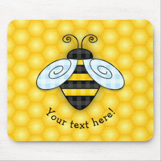 Buzzing Bumblebee and Honeycomb Icon Mouse Pad