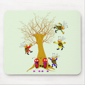 Buzzy Tree Adventure Ladybugs and Bees playing in  Mouse Pad