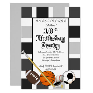BW Color Block All Star Sports Birthday Party Card