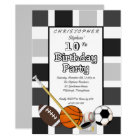 BW Colour Block All Star Sports Birthday Party Card