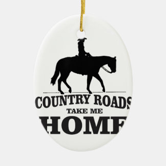 bw country roads take me home ceramic oval ornament