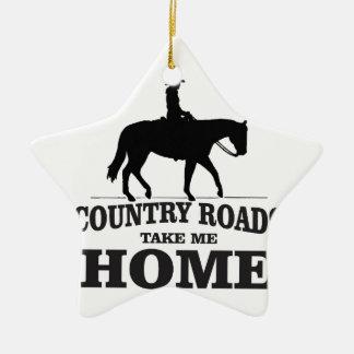 bw country roads take me home ceramic star ornament