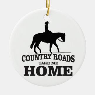 bw country roads take me home round ceramic ornament