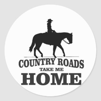 bw country roads take me home round sticker
