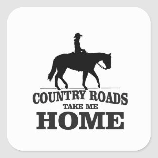 bw country roads take me home square sticker