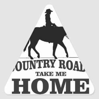 bw country roads take me home triangle sticker