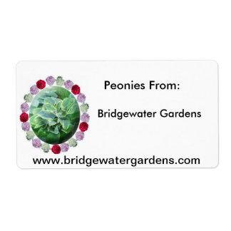 BW Gardens Logo, Bridgewater Gardens, Peonies F... Shipping Label