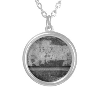 BW Grunge Brick Texture Photography Silver Plated Necklace