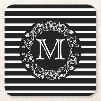 BW HS Floral Monogrammed Square Paper Coaster