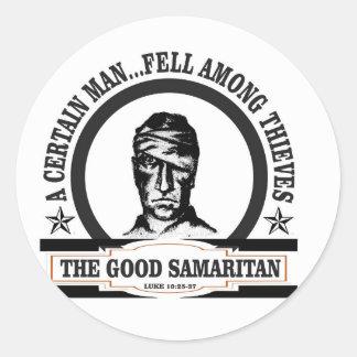 bw samaritan art classic round sticker
