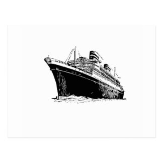 bw ship floats in postcard