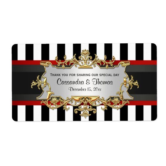 BW Stripe, Black Red Ribbon H Wine Bottle Label