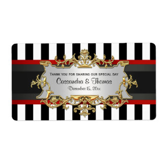 BW Stripe, Black Red Ribbon H Wine Bottle Label Shipping Label