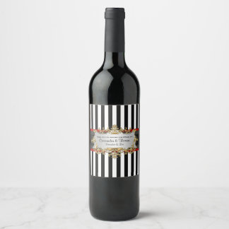 BW V Stripe Black Red Ribbon Wine Bottle Label