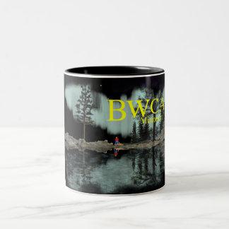 BWCA Minnesota Aurora campfire Two-Tone Coffee Mug