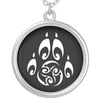 BWM - Morrigan Triskelle Paw Logo (dark) Silver Plated Necklace