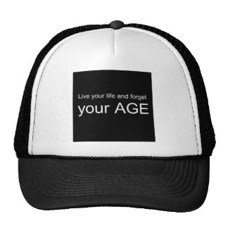 BWQ LIVE YOUR LIFE FORGET YOUR AGE ADVICE WISDOM Q TRUCKER HAT