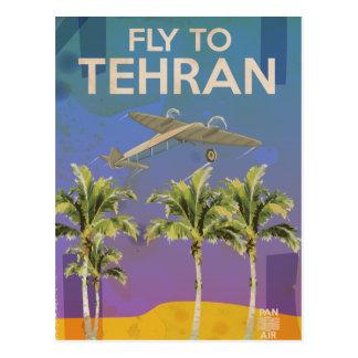 By Air To Tehran Vintage Travel poster Postcard