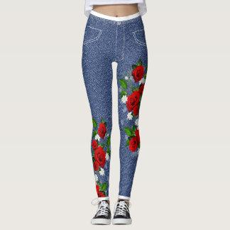 by Cinnamon  women's Walking in roses jeggings Leggings