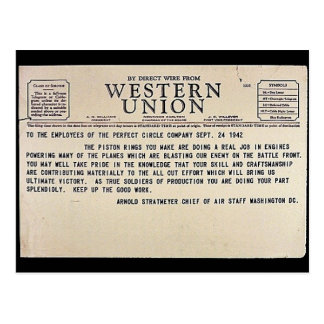 By Direct Wire From Western Union Postcard