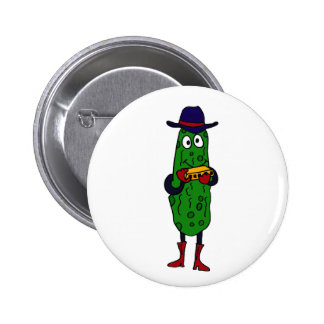 BY- Funny Pickle Playing Harmonica Cartoon 2 Inch Round Button