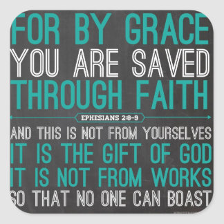 By Grace Through Faith Square Sticker