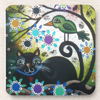 By Lori Everett_ Day Of The Dead, Black Cat, Bird Beverage Coaster