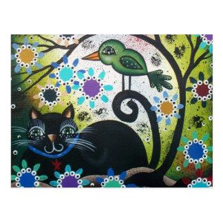 By Lori Everett_ Day Of The Dead, Black Cat, Bird Postcard