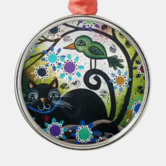 By Lori Everett_ Day Of The Dead, Black Cat, Bird Silver-Colored Round Ornament