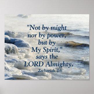 By My Spirit, Scripture Ocean Waves Poster
