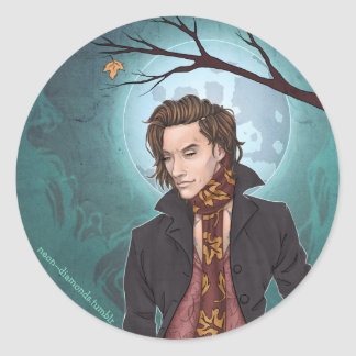 By the light of the moon classic round sticker