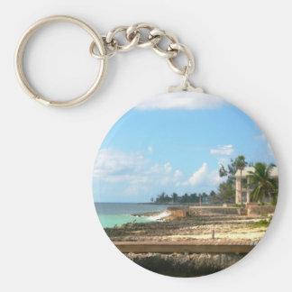 By The Ocean Basic Round Button Keychain