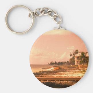 By The Ocean (Peach Tone) Basic Round Button Keychain