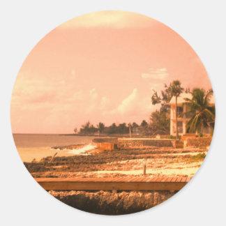By The Ocean (Peach Tone) Classic Round Sticker