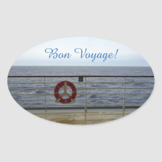 By the Railing Bon Voyage Oval Sticker