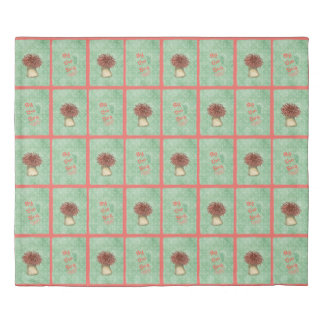 By The Sea in Coral and Green Duvet Cover