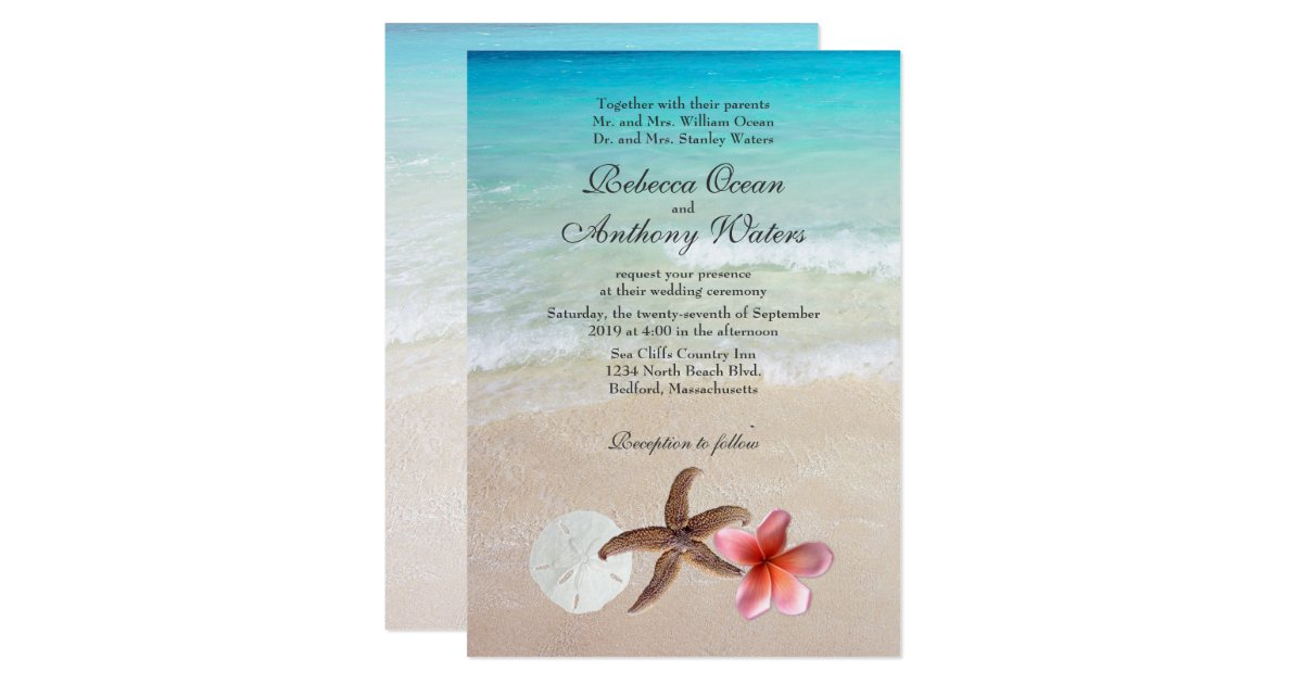 By the sea tropical destination wedding invites zazzleca for Electronic destination wedding invitations
