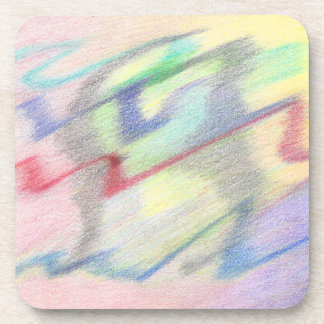 By the Seaside Colorful Abstract Plastic Coasters