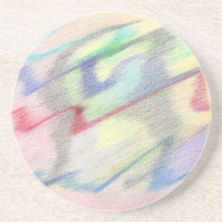 By the Seaside Colorful Abstract Sandstone Coaster