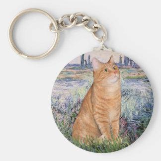 By the Seine - Orange Tabby Sh cat 46 Basic Round Button Keychain
